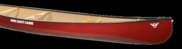 red 15 foot recreational canoe