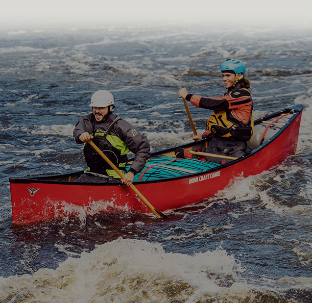 red 2 person canoe